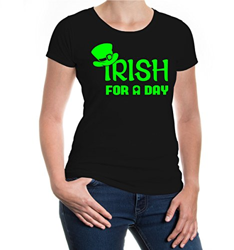 buXsbaum® Damen Girlie Kurzarm T-Shirt bedruckt Irish for a Day | Irland St. Patrick Green | XL black-neongreen Schwarz (Irish T-shirt)