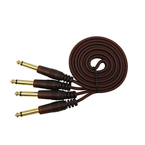 "Dual 6,35 mm Stecker auf Dual 6,35 mm Stecker 1/4 ""TS Mono-Audiokabeladapter für Phonomikrofon E-Gitarre, Bass, Verstärker, Keyboard Professionelles Instrument etc 1.5m"