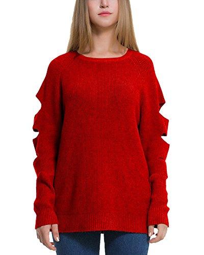 Femmes Top Pull à Manches Longues Cut Out Jumper Tricots Haut Rouge
