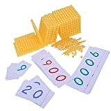 Sharplace Montessori: 1-9000 Zahlenkarten (Bunt ) + 10 Perlen Bar, Kinder Mathe Lernspielzeug