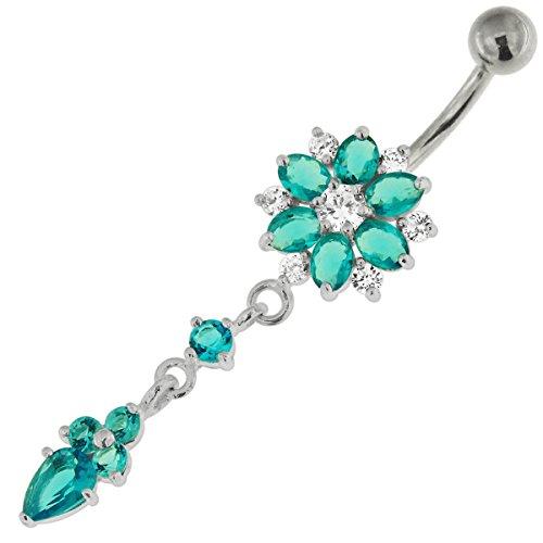 Pierre de la CZ bleu clair Double couche fleur avec queue de fleurs pendantes 925 argent Sterling ventre barre Piercing bijoux