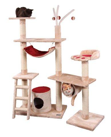 katzeninfo24.de Designer Kratzbaum XXL 150 x 70 cm mit 3 Sisalstämmen + Hängematte + Röhre + Leiter + Höhle + 3 Bälle Katzenbaum Kratz-Baum für Katzen beige/rot Katze Kletterbaum klettern spielen kuscheln waschbar Erziehung Spielzeug