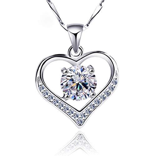 Einfache herzförmige Runde Diamant Anhänger Kristall Halskette Mode-Accessoires Schlüsselbein Kette Europäische Frauen Halskette