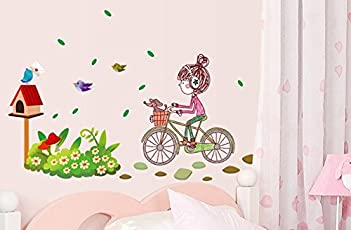 Oren Empower Multicolor A little charming girl riding on her bike large wall sticker for baby girl room (Finished size on wall - 120(w) x 80(h) cm)