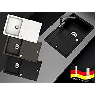 Granitspüle Küchenspüle in versch. Farben Einbauspüle Granit inkl. Drehexcenter, Ab- und Überlaufgarnitur reversibel ab 45/50er Spülenunterschrank (schwarz)