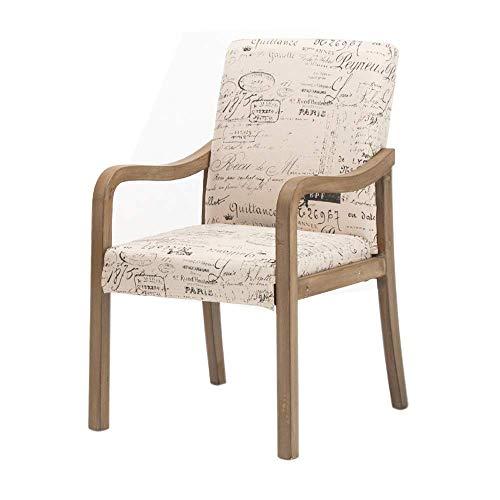 YLCJ Stühle Stuhl, Haus aus massivem Holz mit Rückenlehne Handlauf Moderner Esszimmerstuhl Einfacher Arbeitsstuhl im nordischen Stil Sessel Hotelrestaurantstuhl (Farbe: Englisch)