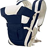 Smilecasters Cotton Adjustable Hands-free 4-in-1 with Head Support and Waist Belt Baby Carrier (Blue)