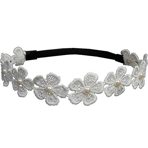 JUSTFOX - Spitzenstoff Haarband große Blüte mit Perle