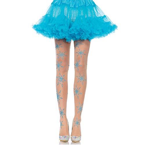 Leg Avenue Transparente Spandex Strumpfhose mit Glitzer-Schneeflocken (Leg Avenue Weihnachts Kostüm)