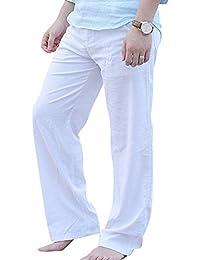 20c137c7180f Uomo Pantaloni Da Spiaggia Casual Traspirante Lungo Pantaloni Di Lino  Leggero Slim Elastic Con Comodo Cordoncino