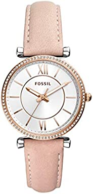 Fossil Carlie Women's Silver Dial Leather Analog Watch - ES
