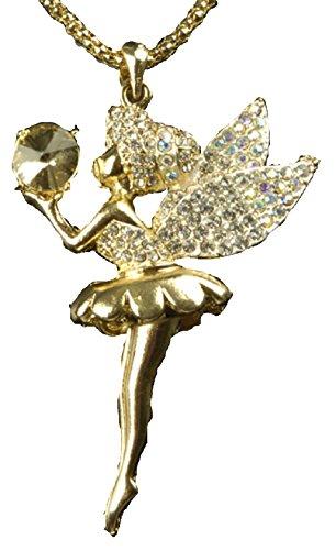 narrenkiste K83486319 silberfarbend Halskette Ballerina-Elfe Feen - Feen Tinkerbell Ballerina Kostüm