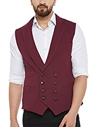 Hypernation Maroon Color Cotton Double Breast Waistcoat For Men