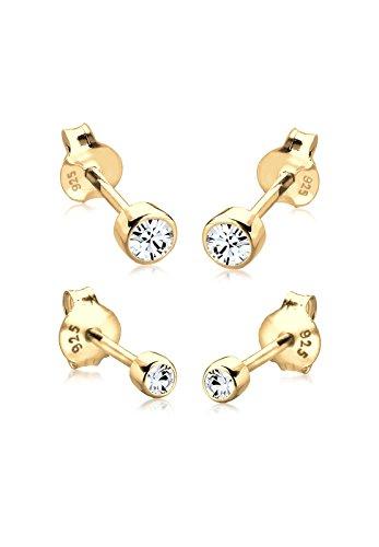 Elli Damen Schmuck Echtschmuck Ohrringe Ohrstecker Basic Sterling Silber 925 Vergoldet Swarovski® Kristalle Gold