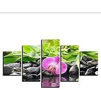 hhlwl Lienzo Cuadros Modular Living Room Decor Marco 5 Unidades Piedras Orquídeas de Bambú Flores Pinturas