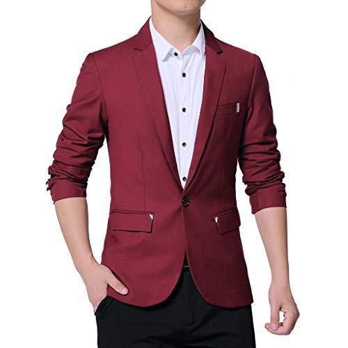 Xmiral Herren Anzüge Formal Geschäft Arbeitsplätze Blazer Umlegekragen Slim Fit Einfarbig Outwear mit Tasche Mantel Jacke (B Weinrot,5XL)