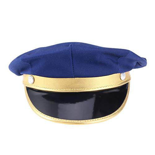 Kostüm Hut Pilot - Happyyami Pilot Hut fluggesellschaft kapitän Kappe Leder Flugzeug Pilot Hut Pilot kostüm Cosplay für Frauen und männer (blau)