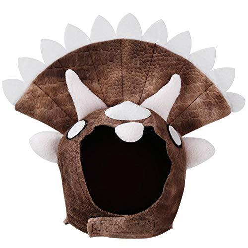 Biback Hund Triceratops Form Pet Head Cover French Bulldog Golden Retriever Dinosaurier Form Kostüm Halloween Day Hat Turban