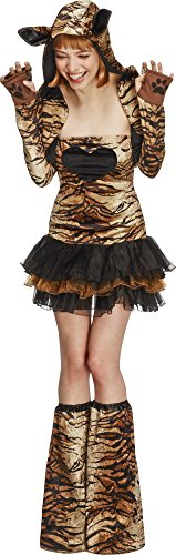 Fever, Damen Tiger Kostüm, Tutu-Kleid mit abnehmbaren Trägern, Jacke mit Tierkapuze und Überstiefel, Größe: XS, 29495