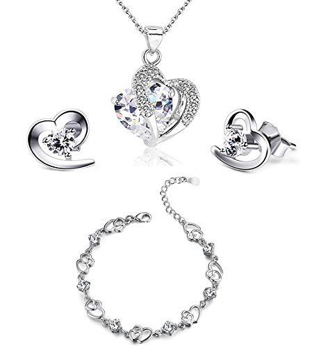 findout swarovski Element Amethyst rot, rosa, blau weiß Kristall-Herz Silber Anhänger Halskette + Ohrring + Armband für Frauen Mädchen. (F497) (weißen Kristall-Set)