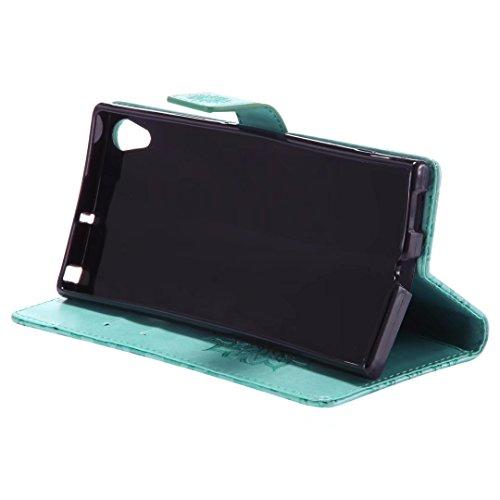 LEMORRY Sony Xperia XA1 Ultra Custodia Pelle Cuoio Flip Portafoglio Borsa Sottile Bumper Protettivo Magnetico Morbido Silicone TPU Cover Custodia per Sony Xperia XA1 Ultra, Fiorire (Oro Rosa) Verde