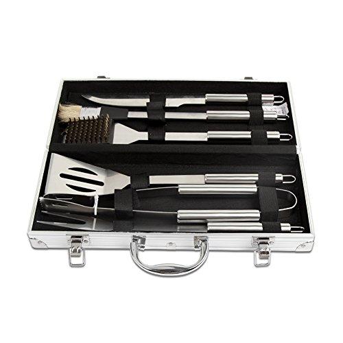 41WLk2y4j4L - Dazone® Grillbesteck-Set 6-teilig im Aluminium-Koffer BBQ Grill-Utensilien Edelstahl Profi Besteck Zubehör fürs Grillen