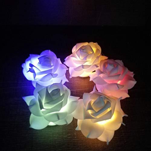Uonlytech 5 piezas led velas sin llama flor vela eléctrica rosa té...