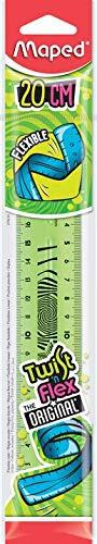 Maped Twist'n Flex - Righello piatto flessibile, divertente e infrangibile, 20 cm, doppia graduazione, colore: Verde