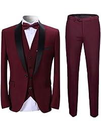 fbf43af3a39 Sliktaa Homme Costume Élégant 3 Pièces Tuxedo Slim Fit Classique d affaires  Mariage Bals Veste