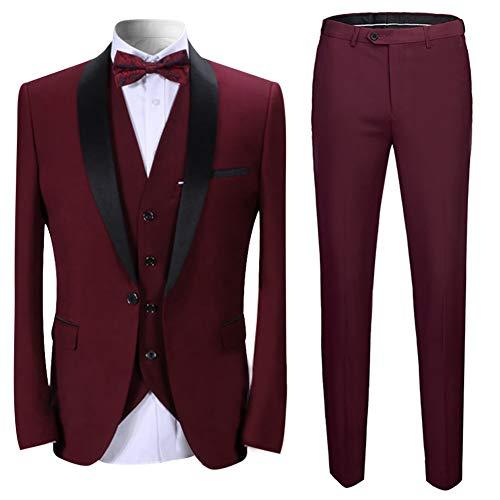Sliktaa Homme Costume Élégant 3 Pièces Rouge Tuxedo Slim Fit Classique d'affaires Mariage Bals Veste+Gilet+Pantalo
