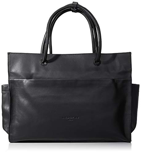 Leder Shopper Medium (Liebeskind Berlin Damen Drawstring Shopper Medium Schultertasche, Schwarz (Black), 39.0x30.0x11.0 cm)
