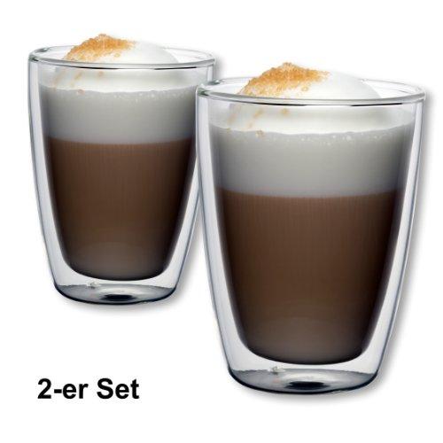 1aTTack.de 833437 Trink/Thermo-Glas 300 ml doppelwandig Modell Nico für Heiß- und Kaltgetränke, 2-Stück