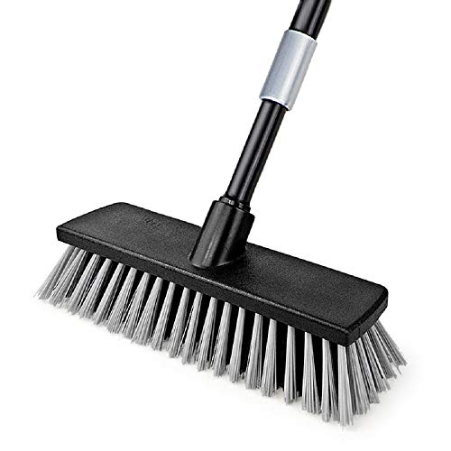 Push Broom Indoor Outdoor Floor Scrub Brush, Stiff Bristles with 49.6 Inches Adjustable Long Handle, for Cleaning Bathroom, Kitchen, Patio, Garage, Deck, Tile, Marble, Stone, Wood Floors