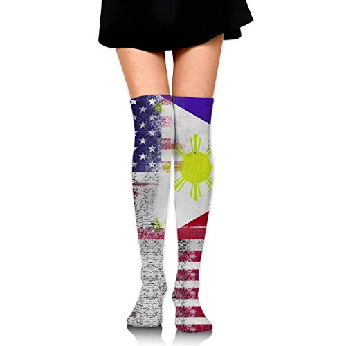 rican Flag Frauen Männer lange gestreifte Socken über Knie Oberschenkel hohe Socken Stocking ()