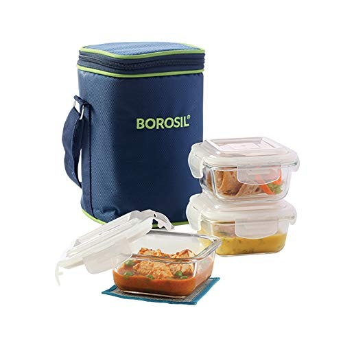 Borosil Glass Lunch Box Set of 3, 320 ml,Microwave Safe...