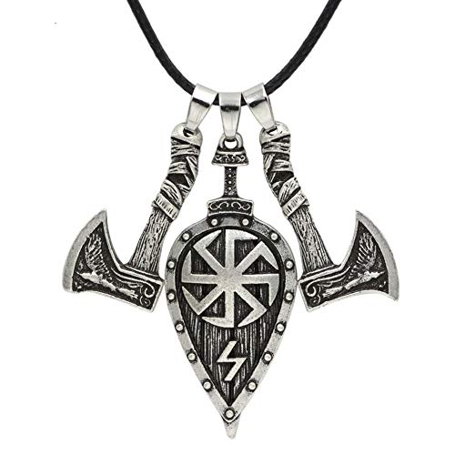 NICEWL Slawische Amulett Halskette-Odin Krähe Nordische Mythologie Anhänger, Schwert Axt Schild Wikinger Mann, Keltische, Heidnische Schmuckzubehör,Silver,60cm
