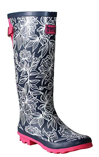 Freestep Womens Ladies Extra Wide Calf Adjustable Waterproof Rubber Festival Rain Mud Snow Girls Wellington Boots Wellies UK 3-8