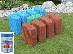 Filterschwamm Set für Biotec 10.1 (4x blau, 4x rot, 1x grün) inkl Filterstarter (Oase Biokick 200 ml)