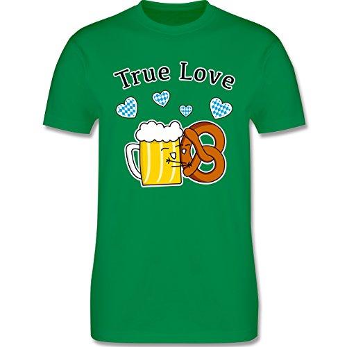 Oktoberfest Herren - True Love- Bier und Breze - Herren T-Shirt Rundhals Grün