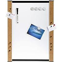Genie 11213 Whiteboard (Beschreibbare Magnettafel mit Korkrand, inkl. Stifte, Magnete, Pinnadeln, Wandbefestigung, 45 cm x 60 cm)