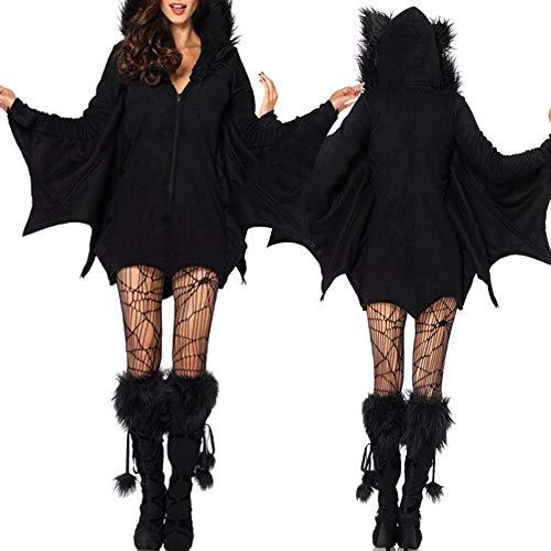 Yeshai3369 Halloween Outfit Erwachsene Frauen Vampir Fledermaus Kostüm Cosplay Fleece Overall Halloween Charme Hexe Königin Dekoration XXL