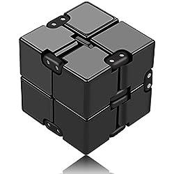 Funxim Fidget Cube Décompression Jouet Cube de l'infini, Stress de Jouet de Doigt de Fidget et soulagement d'inquiétude, tuant Le Temps Fidget Joue Le Cube Infini pour Le Personnel de Bureau (Noir)