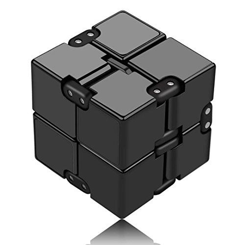 Funxim Infinity Cube Décompression Jouet Cube de l'infini, Nouveau stress de jouet de doigt de Fidget et soulagement d'inquiétude, tuant le temps Fidget joue le cube infini pour le personnel de bureau (Noir)