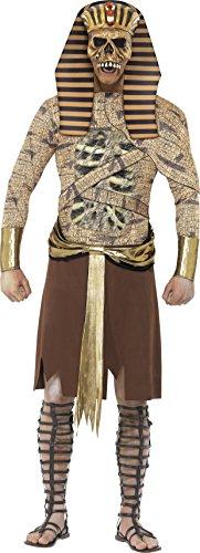 Smiffys, Herren Zombie-Pharao Kostüm, Überwurf, Armmanschetten und Kopfteil, Größe: L, 40097 (Gold Kostüm Männer)