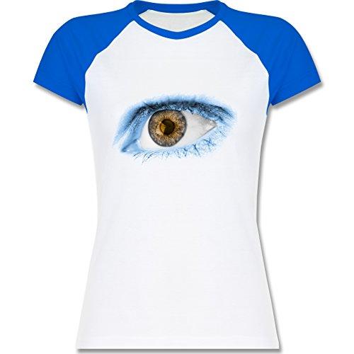 Länder - Auge Bodypaint Argentinien - zweifarbiges Baseballshirt / Raglan T-Shirt für Damen Weiß/Royalblau