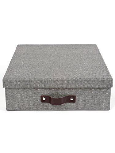 Bigso Box of Sweden Dokumentenbox für A4 Papier, Broschüren usw. - Schreibtischablage mit Deckel und Griff - Aufbewahrungsbox aus Faserplatte und Papier in Leinenoptik (Mit Deckel Papier-boxen)