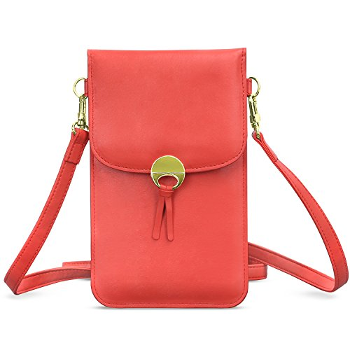 MoKo Handy Tasche Hülle, Mehreren Taschen Verstellbar Schultergurt Geldbörse für iPhone 11 Pro/11/11 Pro Max/XS/Xs Max/XR,Galaxy S10e/S10/S10 Plus,Huawei P30/P30 Pro,Google Pixel 3a/3a XL - Rot -