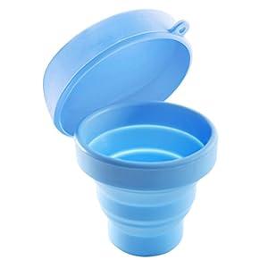 ROSENICE Faltbare Tasse mit Deckel Tragbare Pop-up-Tasse für Camping Picknicken Wandern Outdoor-Aktivitäten (blau)