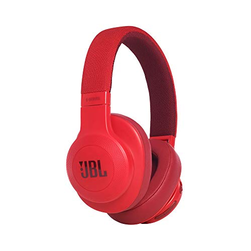 JBL E55BT - Auriculares Bluetooth supraaurales plegables con cable y control remoto universal, batería de hasta 20 h, rojo