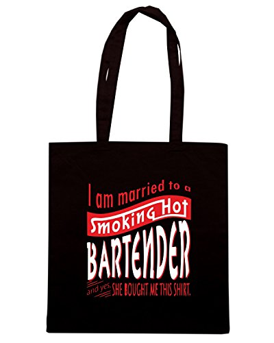 T-Shirtshock - Borsa Shopping BEER0229 I am married to a smoking hot Bartender Nero